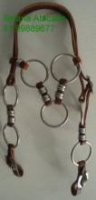 Cabeçada com argolas e virolas em aço inox, fivelas ferradura.