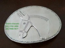 Fivela Para Cinto (Em aço inox, Cavalo),com 9,0 por 12,5 cm.