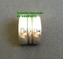 Virola dupla lisa com anel, em aço inox